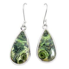 Natural green kambaba jasper (stromatolites) 925 silver dangle earrings m36422