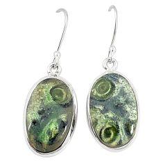 Natural green kambaba jasper (stromatolites) 925 silver dangle earrings m36423