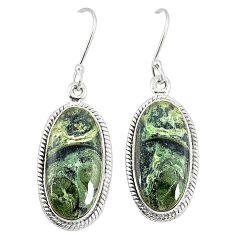 925 silver natural green kambaba jasper (stromatolites) dangle earrings m36425