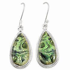 Natural green kambaba jasper (stromatolites) 925 silver dangle earrings m36426
