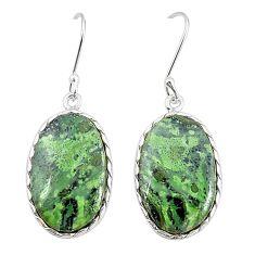 Natural green kambaba jasper (stromatolites) 925 silver dangle earrings m36427
