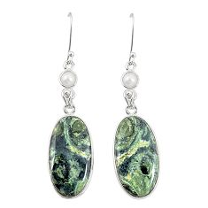 Natural green kambaba jasper (stromatolites) 925 silver dangle earrings m36435