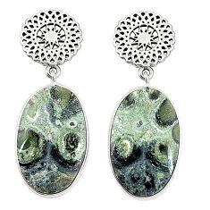 Natural green kambaba jasper (stromatolites) 925 silver dangle earrings m36438