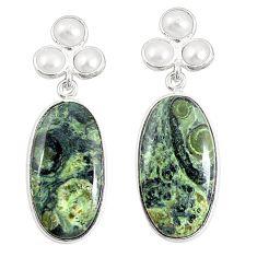 925 silver natural green kambaba jasper (stromatolites) dangle earrings m36439