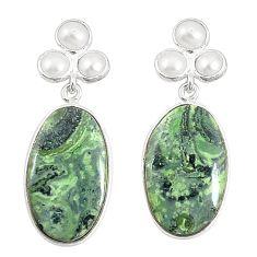 Natural green kambaba jasper (stromatolites) 925 silver dangle earrings m36440