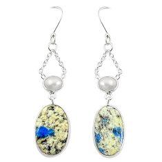 Natural k2 blue (azurite in quartz) pearl 925 silver dangle earrings m36517