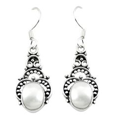 Natural white pearl 925 sterling silver dangle earrings jewelry m37216