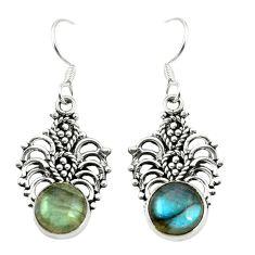 Natural blue labradorite 925 sterling silver dangle earrings m37252