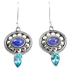 Natural blue tanzanite topaz 925 sterling silver dangle earrings m38362