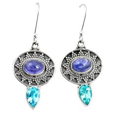 Natural blue tanzanite topaz 925 sterling silver dangle earrings m38363