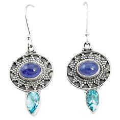 Natural blue tanzanite topaz 925 sterling silver dangle earrings m38365