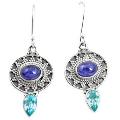 Natural blue tanzanite topaz 925 sterling silver dangle earrings m38367