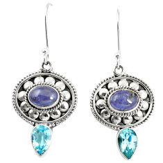 Natural blue tanzanite topaz 925 sterling silver dangle earrings m38369
