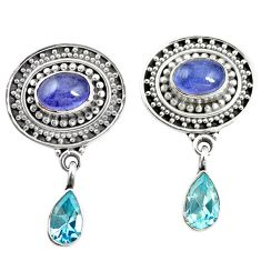 Natural blue tanzanite topaz 925 sterling silver dangle earrings m38370