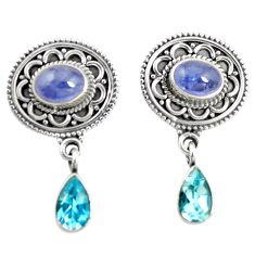925 sterling silver natural blue tanzanite topaz dangle earrings jewelry m38372
