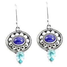 Natural blue tanzanite topaz 925 sterling silver earrings jewelry m38385