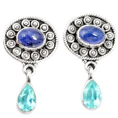 Natural blue tanzanite topaz 925 sterling silver earrings jewelry m38394