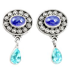 Natural blue tanzanite topaz 925 sterling silver earrings jewelry m38395