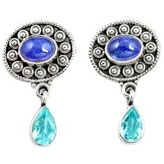 Natural blue tanzanite topaz 925 sterling silver earrings jewelry m38399