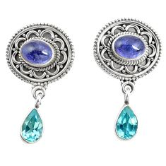 Natural blue tanzanite topaz 925 sterling silver earrings jewelry m38531