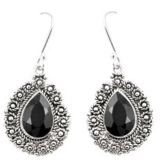 Natural black onyx 925 sterling silver dangle earrings jewelry m38581