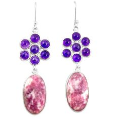 925 silver natural purple lepidolite amethyst dangle earrings jewelry m39015