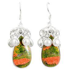 Natural green unakite pearl 925 sterling silver dangle earrings m39025