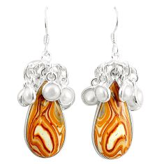 Natural brown wave rolling hills dolomite 925 silver dangle earrings m39028