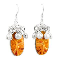 Natural brown wave rolling hills dolomite 925 silver dangle earrings m39029