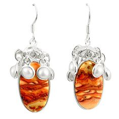 Natural brown wave rolling hills dolomite 925 silver dangle earrings m39031