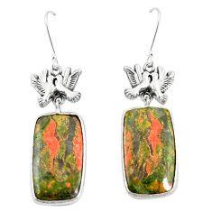 Natural green unakite 925 sterling silver love birds earrings m39041
