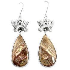 925 silver natural brown mushroom rhyolite love birds earrings jewelry m39055