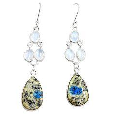 Natural k2 blue (azurite in quartz) 925 sterling silver dangle earrings m39078
