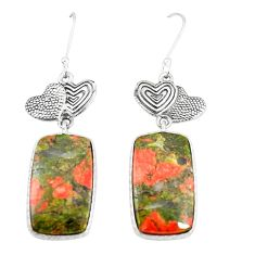 Natural green unakite 925 sterling silver couple hearts earrings m39081