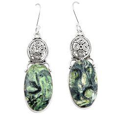 925 silver natural green kambaba jasper (stromatolites) dangle earrings m39104