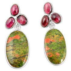 Natural green unakite garnet 925 sterling silver dangle earrings m39118