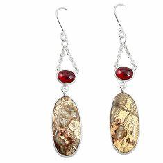 Natural brown mushroom rhyolite 925 silver dangle earrings m39153