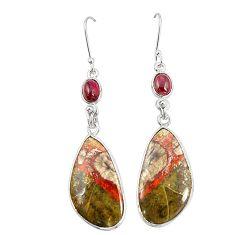 Natural brown mushroom rhyolite 925 silver dangle earrings jewelry m39156