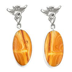 925 sterling silver natural yellow snakeskin jasper owl earrings jewelry m39184