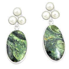 Natural green kambaba jasper (stromatolites) 925 silver earrings m39221