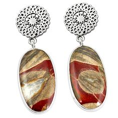 Natural brown mushroom rhyolite 925 sterling silver earrings m39222