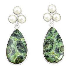 Natural green kambaba jasper (stromatolites) 925 silver earrings m39224