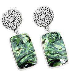 Natural green kambaba jasper (stromatolites) 925 silver earrings m39226