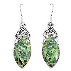 Natural green kambaba jasper (stromatolites) 925 silver earrings m39234