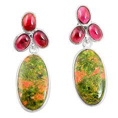 Natural green unakite garnet 925 sterling silver dangle earrings m39261