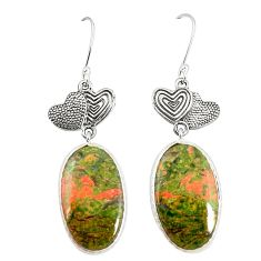 Natural green unakite 925 sterling silver couple hearts earrings m39267