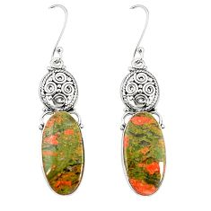 Natural green unakite 925 sterling silver dangle earrings jewelry m39268