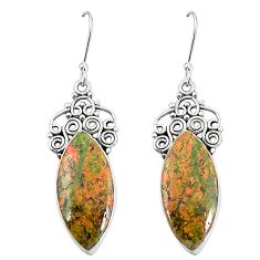 Natural green unakite 925 sterling silver dangle earrings jewelry m39272