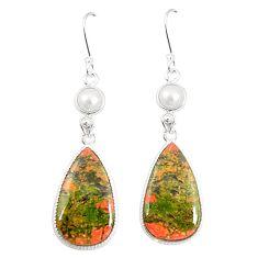 Natural green unakite pearl 925 sterling silver dangle earrings m39273