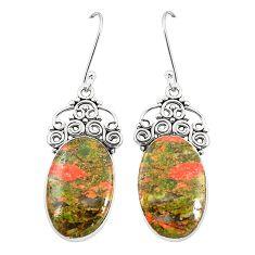 Natural green unakite 925 sterling silver dangle earrings jewelry m39278